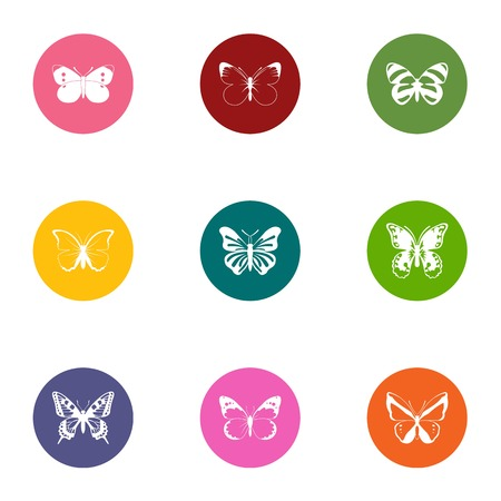 Wing of butterfly icons set, flat style