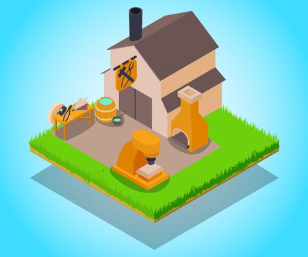 Smithy concept banner, isometric style