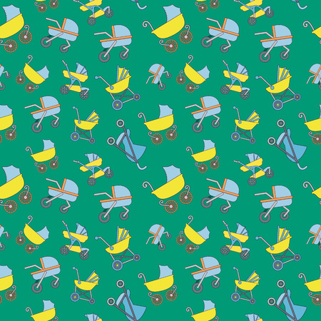 Stroller pattern seamless. Cartoon of stroller vector pattern seamless for web, poster and wrapping paper