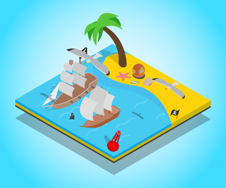 Pirate beach concept banner. Isometric banner of pirate beach vector concept for web, giftcard and postcard