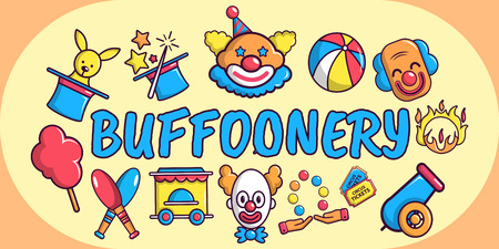 Buffoonery concept banner. Cartoon banner of buffoonery vector concept for web, giftcard and postcard