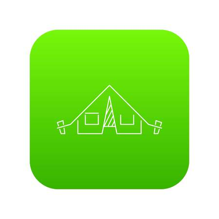 Tent icon green vector isolated on white background