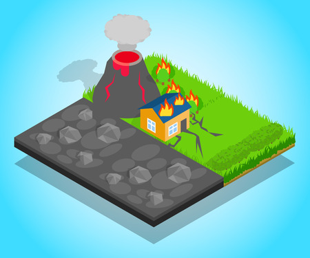 Natural disaster concept banner, isometric style  イラスト・ベクター素材