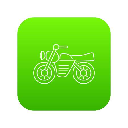 Motorcycle icon green vector isolated on white background