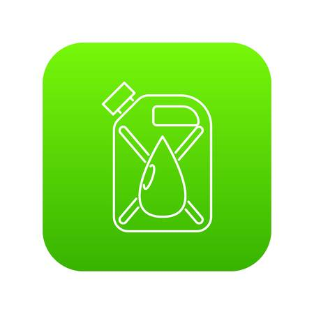 Jerrycan with drop icon green vector isolated on white background