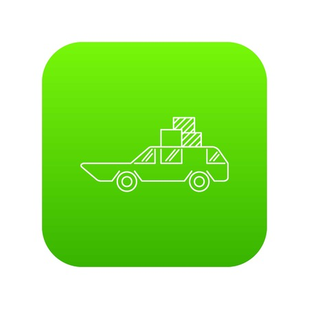 Hatchback with boxes icon green vector isolated on white background Ilustracja