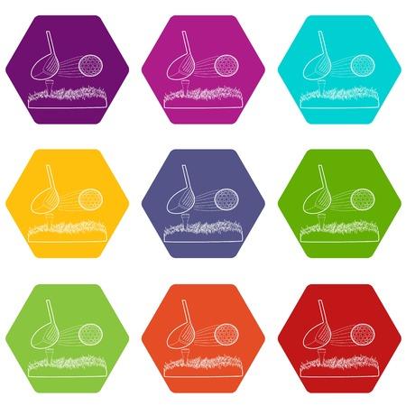 Hit golf ball icons set 9 vector