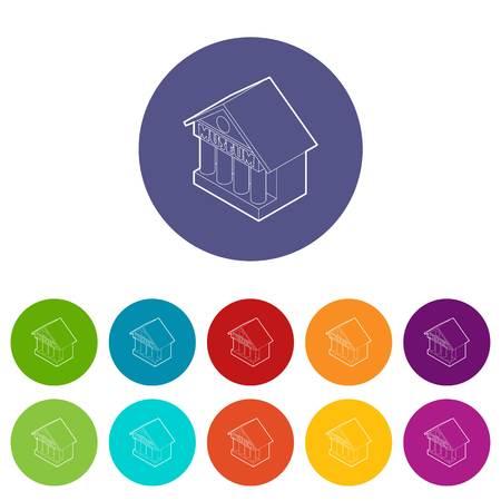 Museum building icons set vector color