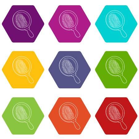 Magnify icons set 9 vector Vektoros illusztráció