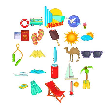 Trek icons set. Cartoon set of 25 trek vector icons for web isolated on white background 일러스트