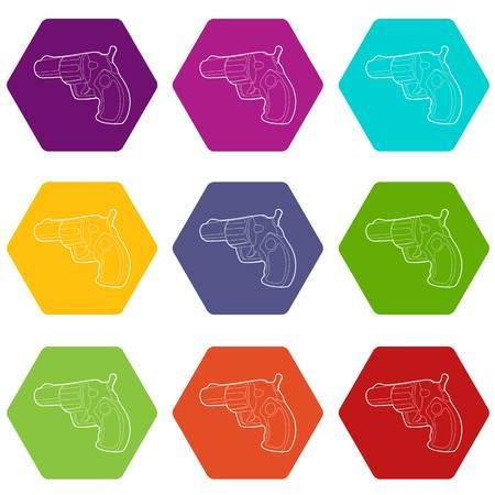 Gun icons set 9 vector