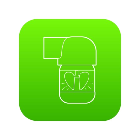 Inhaler for lung icon green vector isolated on white background
