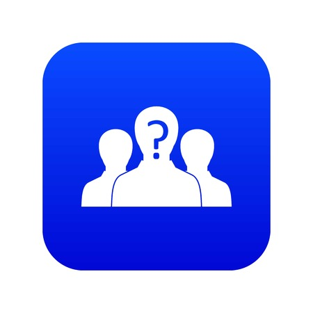 Group of people with unknown personality icon digital blue for any design isolated on white vector illustration