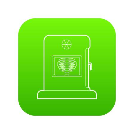 X-ray apparatus icon green vector isolated on white background