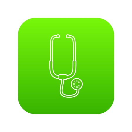Medical stethoscope icon green vector isolated on white background