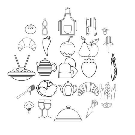 Tea plantation icons set. Outline set of 25 tea plantation vector icons for web isolated on white background