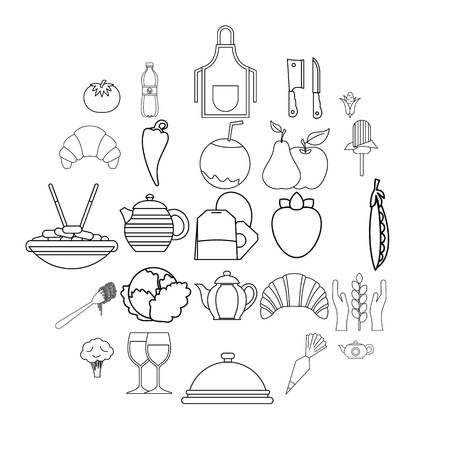 Tea plantation icons set. Outline set of 25 tea plantation vector icons for web isolated on white background