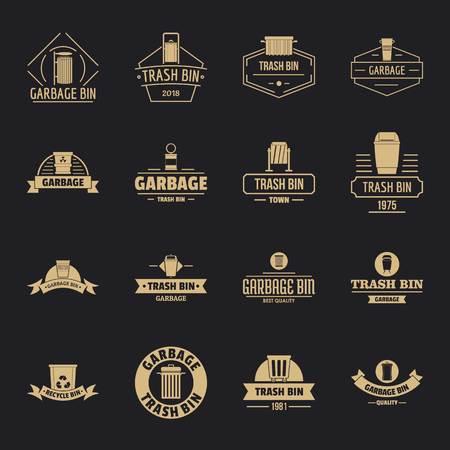 Trash bin icons set, simple style