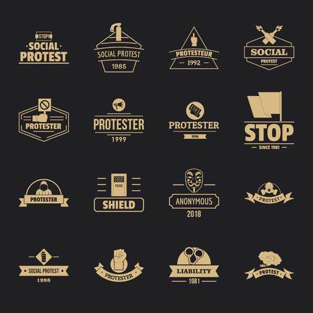 Protest icons set, simple style