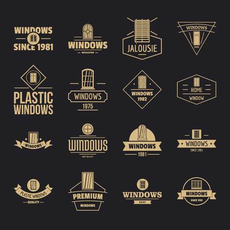 Window construction icons set, simple style Ilustración de vector