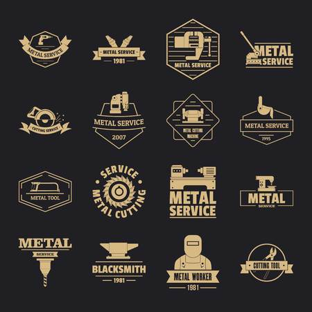 Metal working icons set, simple style