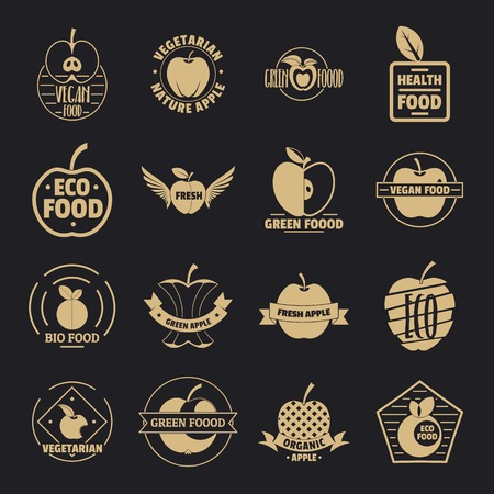 Apple icons set, simple style