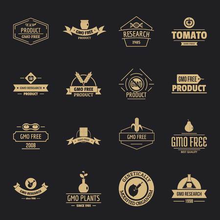 GMO food icons set, simple style