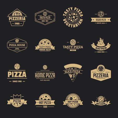 Pizzeria icons set, simple style