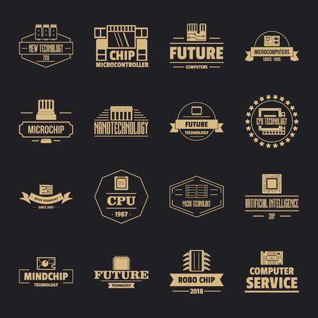 Future computer icons set, simple style