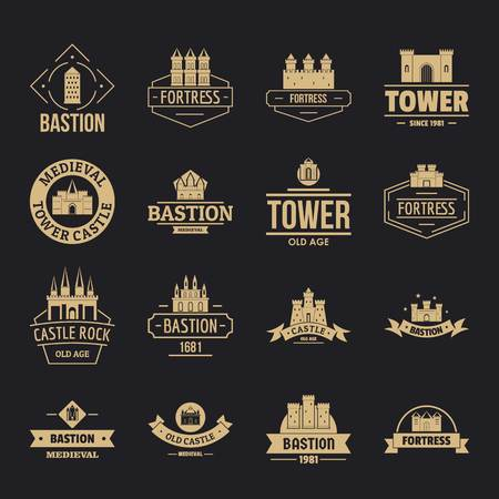 Towers castles icons set, simple style