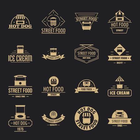 Street food icons set, simple style