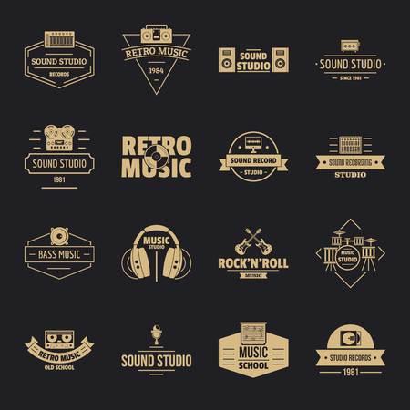 Music studio icons set, simple style