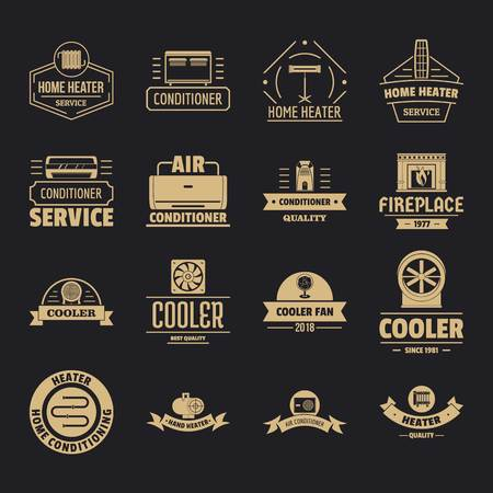 Heating cooling icons set, simple style