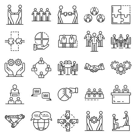 Zusammenhalt-Icon-Set. Umreißen Sie eine Reihe von Kohäsionsvektorsymbolen für das Webdesign, die auf weißem Hintergrund isoliert sind