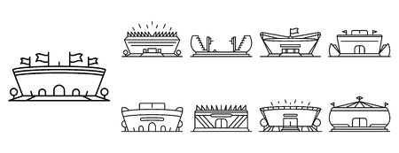 Arena icon set, outline style Illustration