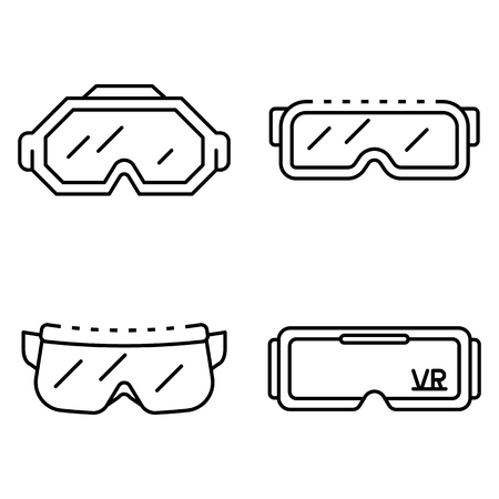 Goggles icon set. Outline set of goggles vector icons for web design isolated on white background Vetores