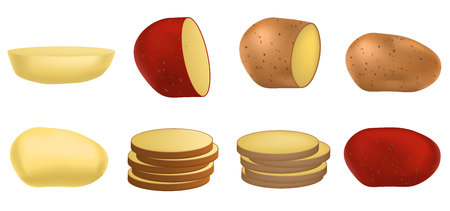 Potato icon set. Realistic set of potato vector icons for web design isolated on white background Archivio Fotografico - 126603856