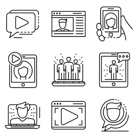 Webinar icon set, outline style