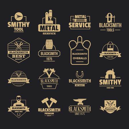 Blacksmith metal icons set, simple style Иллюстрация