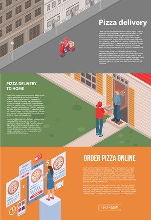 Conjunto de banners de entrega de pizza. Conjunto isométrico de banner de vector de entrega de pizza para diseño web