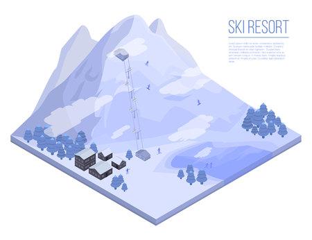 Fond de concept de station de ski. Illustration isométrique de l'arrière-plan du concept de vecteur de station de ski pour la conception de sites Web