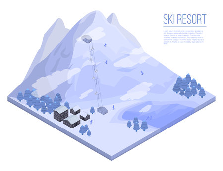 Ski resort concept background. Isometric illustration of ski resort vector concept background for web design Illusztráció