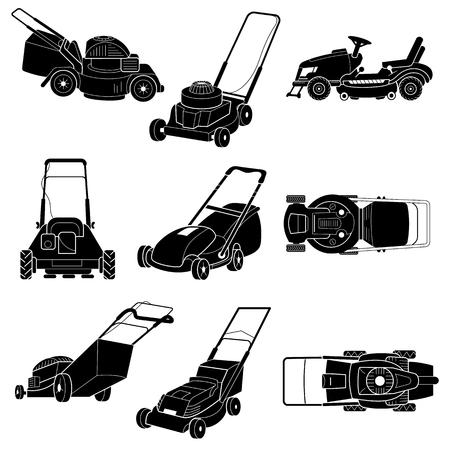 Rasenmäher-Icon-Set. Einfacher Satz Rasenmähervektorikonen für Webdesign auf weißem Hintergrund