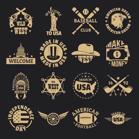 USA vintage icons set, simple style 일러스트