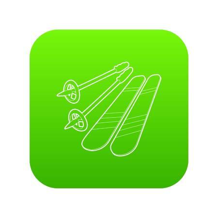Skiing icon green vector Stock Illustratie