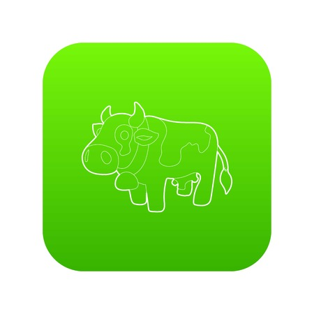 Cow icon green vector Illustration