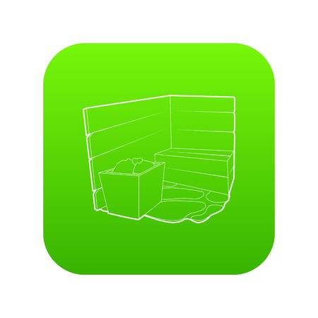 Sauna icon green vector