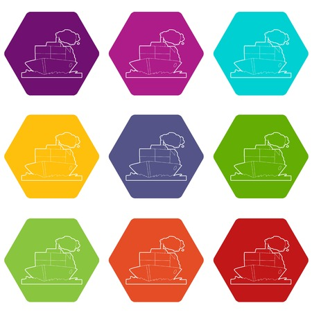 Ship icons set 9 illustration Illustration