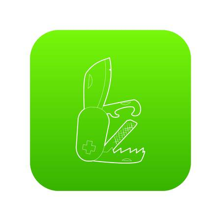 Penknife icon green illustration