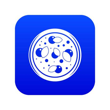 Pizza with greens icon digital blue for any design isolated on white vector illustration